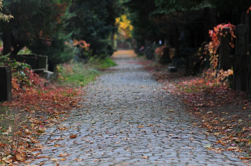 Wroclaw, Poland, October 2018. Cobblestone alley at the Old Jewish Cemetery in Wroclaw. museum of cemetery art. Breslau stock images