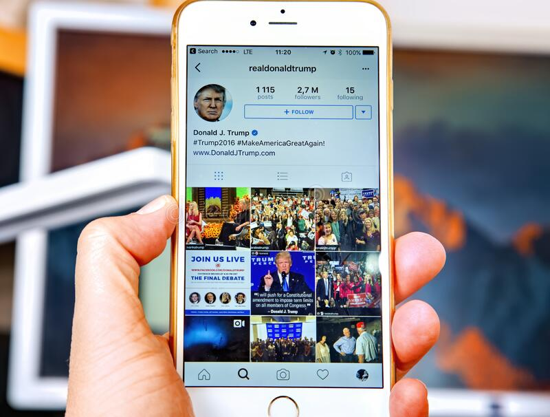 WROCLAW. POLAND- 20, October, 2016: Donald Trump`s Instagram account shown on Iphone 6 plus, royalty free stock images