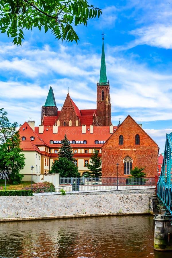 Wroclaw, Poland Ostrow Tumski island. Wroclaw, Poland landmark Ostrow Tumski with the Church of the Holy Cross royalty free stock photography