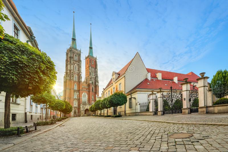 Wroclaw, Poland. Panoramic view of Cathedral on sunset royalty free stock photos