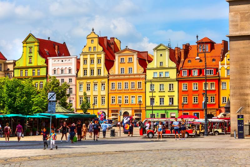 Wroclaw, Poland Salt Square colorful houses stock photo