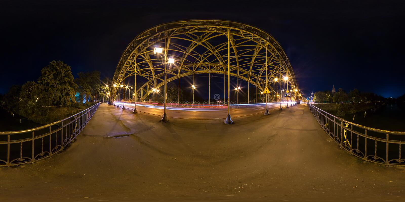 WROCLAW, POLAND - SEPTEMBER, 2018: Full seamless spherical 360 degrees angle view night panorama near steel frame construction of royalty free stock photography