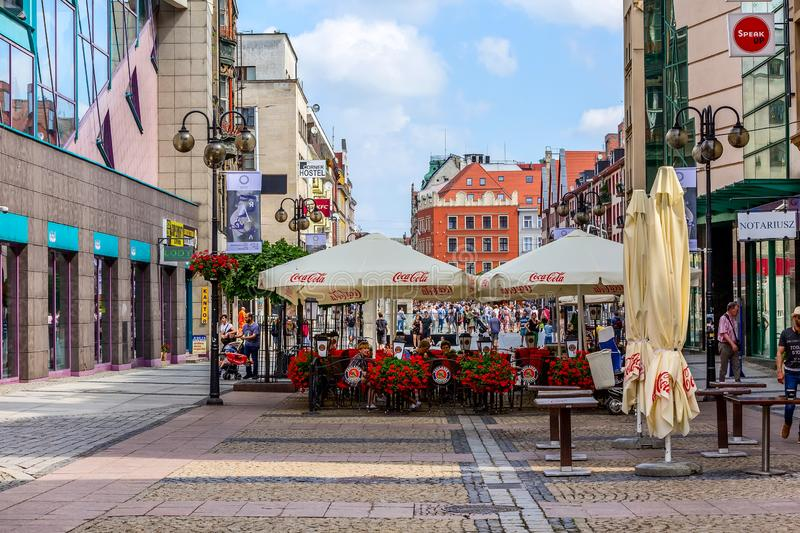 Wroclaw, Poland street view with cafe and flowers stock photo