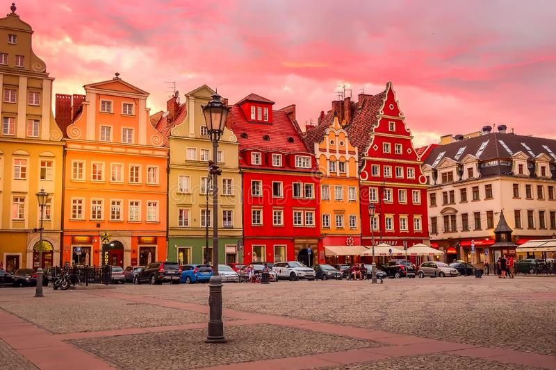 Wroclaw, Poland sunset at Salt Square royalty free stock photography