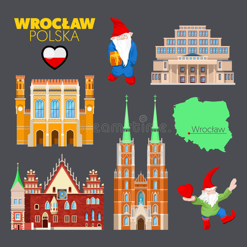 Wroclaw Poland Travel Doodle with Wroclaw Architecture, Dwarfs and Flag. Vector illustration stock illustration
