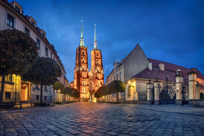 Wroclaw, Poland. View of Cathedral at dusk royalty free stock photo