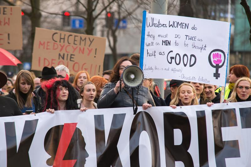 Womens protest. Wroclaw, Poland, 2017 08 03 - Womens protest `Strajk Kobiet` on Womans Day against Polish government PIS, on 08,03,2017 in Wroclaw, Poland stock images