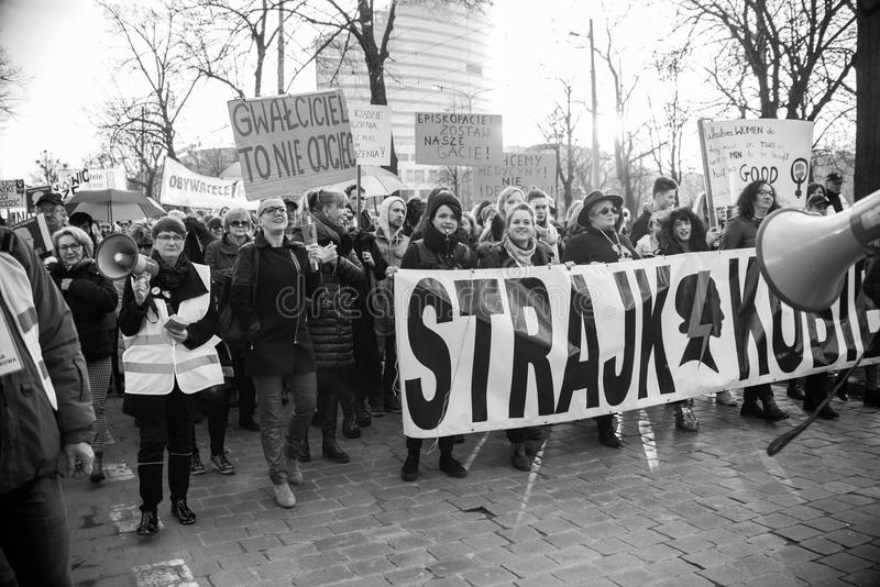 Wroclaw, Poland, 2017 08 03 - Womens protest. `Strajk Kobiet` on Womans Day against Polish government PIS, on 08,03,2017 in Wroclaw, Poland royalty free stock image