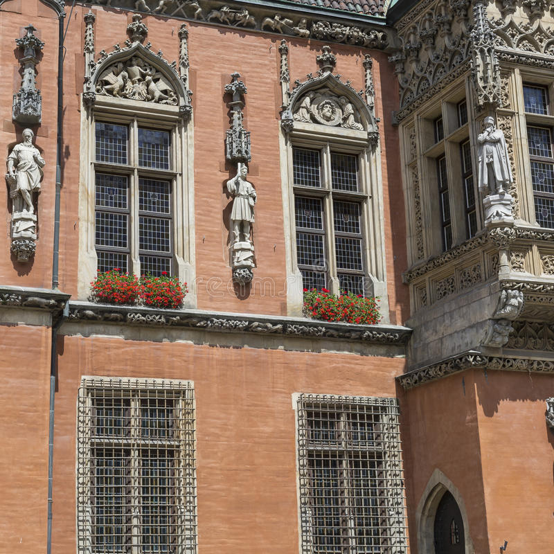 WROCLAW, POLEN - JULI 07, 2016: Architectuur van de squar Markt stock foto