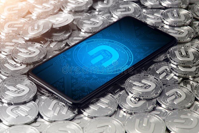 WROCLAW, POLEN - 20 JUNI, 2019: Facebook kondigt cryptocurrency aan Smartphone met facebook-logo op het scherm is aan het leggen stock illustratie