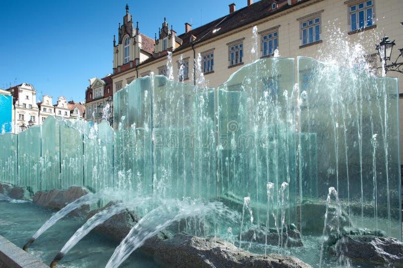 Wroclaw Pologne, Fontaine De Grand Dos Du Marché Photographie stock