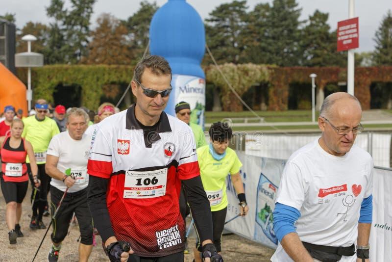 WROCLAW, POLONIA - 15 OTTOBRE 2017: La gente nella forma fisica scorre la concorrenza di camminata del nordico nel parco della ci fotografia stock
