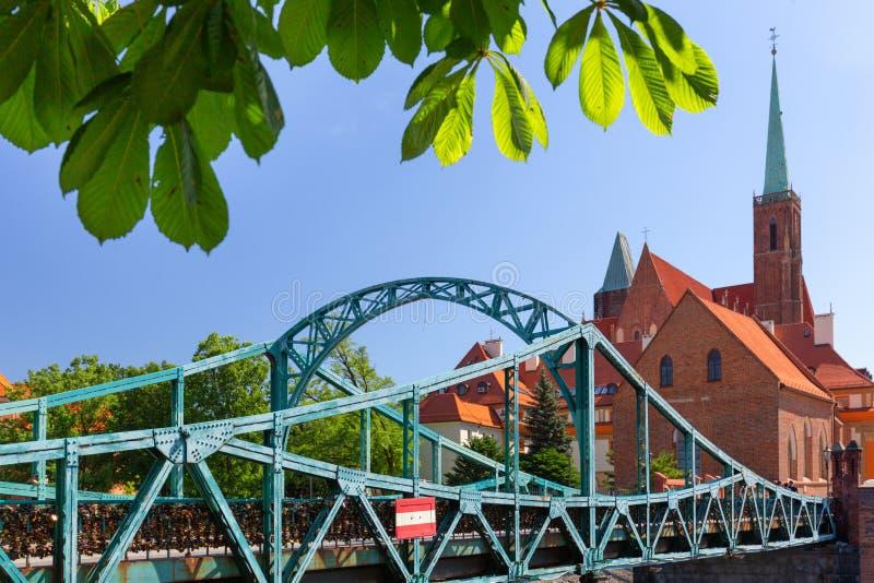 wroclaw Pont de Tumski, passerelle au secteur le plus ancien de la ville photo libre de droits