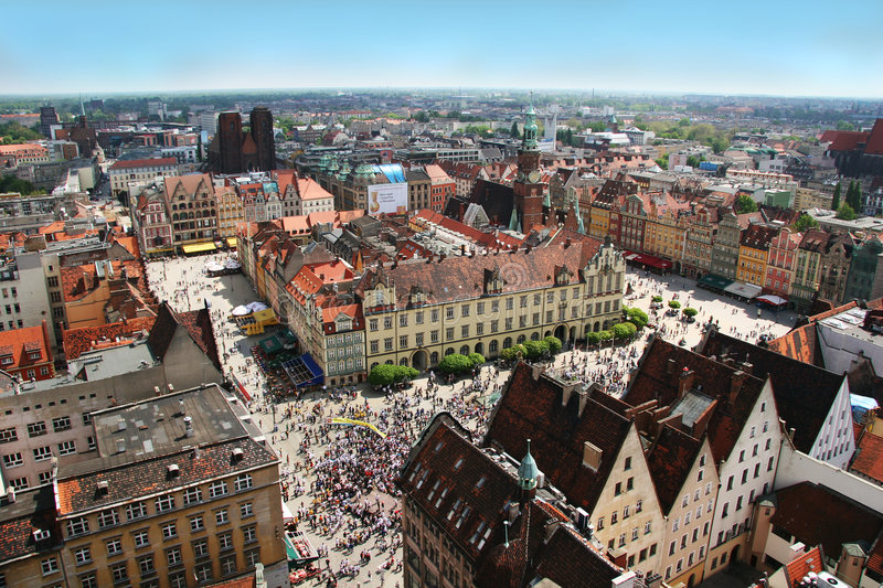 Wroclaw town market from above stock photography