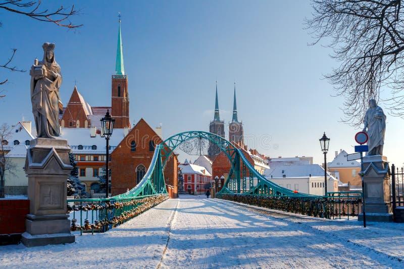 Wroclaw. Tumski bridge. Tumski bridge over the river Odra to the island in winter stock photography