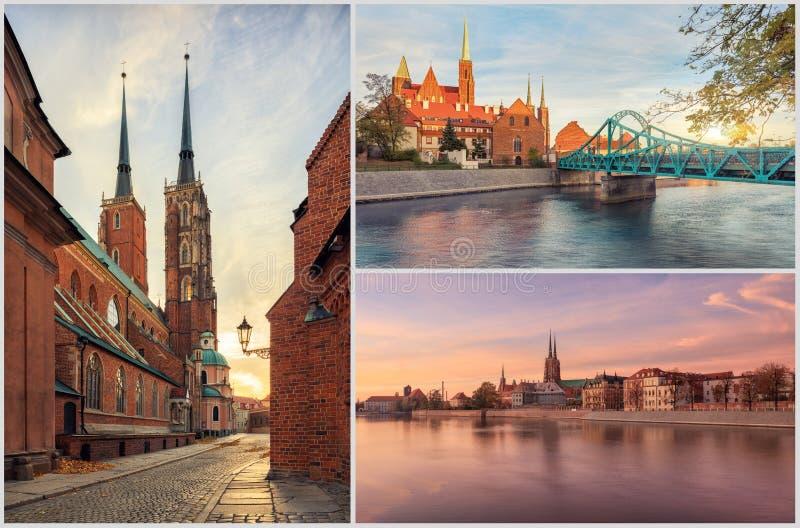 Wroclaw Tumski Island Church. High resolution collage of Wroclaw Tumski Island in autumn, Poland stock image