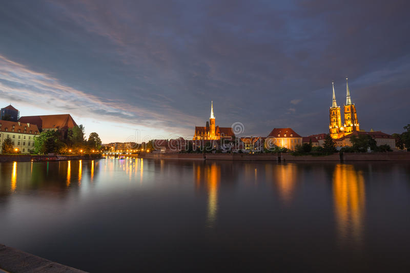 Wroclaw. View of the evening on the Ostrow Tumski the oldest district in the city / Poland. Wroclaw. View of the sunset on the Ostrow Tumski the oldest district stock photo