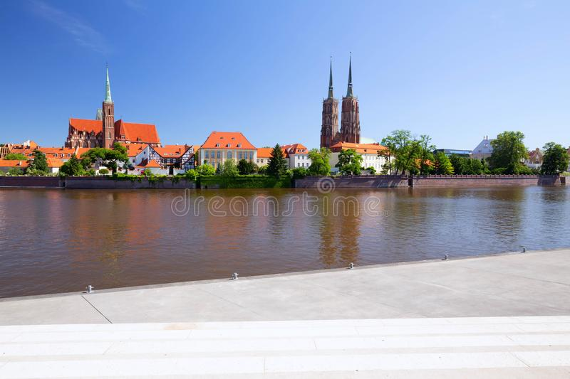 Wroclaw.  waterfront view from the Ostrów Tumski, the oldest district of the city. / Poland royalty free stock photo