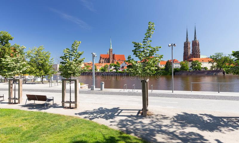 Wroclaw.  waterfront view from the Ostrow Tumski, the oldest district of the city. / Poland stock images