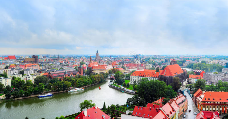 Wroclawpanorama, Polen royalty-vrije stock foto's