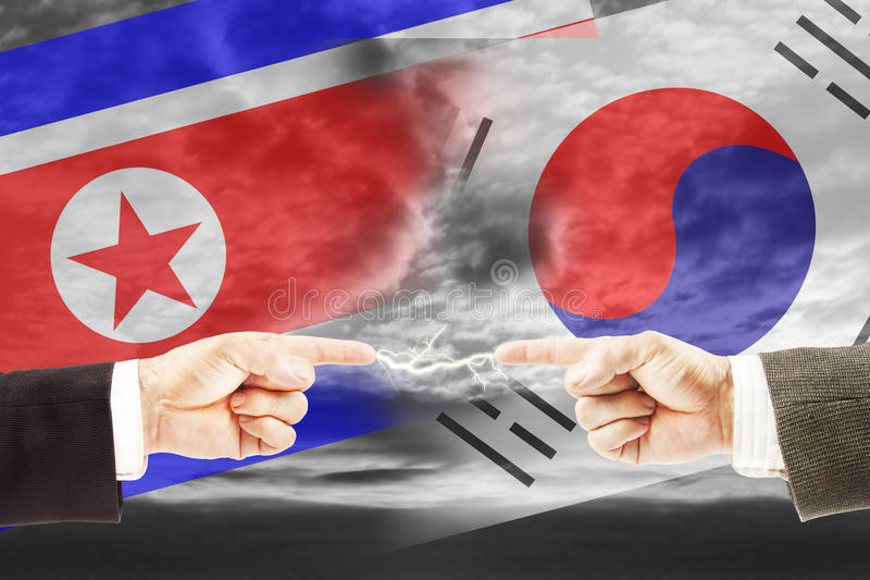 Wrogość i antagonizm między korea północna i południowa obraz royalty free