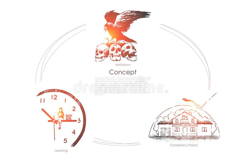 Wrona siedzi na czaszkach, studencki studiowanie, czytelnicza ksi??ka na zegarowej strzale, dom pod kopu??, konceptualny sztandar ilustracji