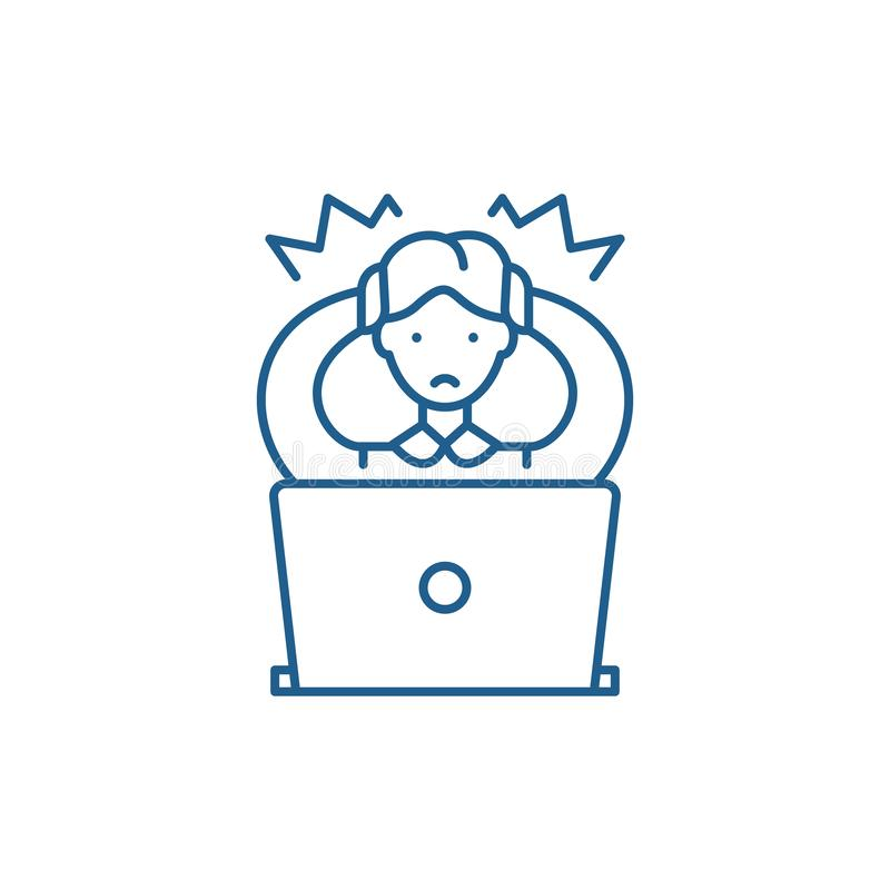 Wrong decision line icon concept. Wrong decision flat  vector symbol, sign, outline illustration. stock illustration