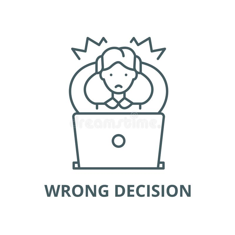 Wrong decision vector line icon, linear concept, outline sign, symbol vector illustration