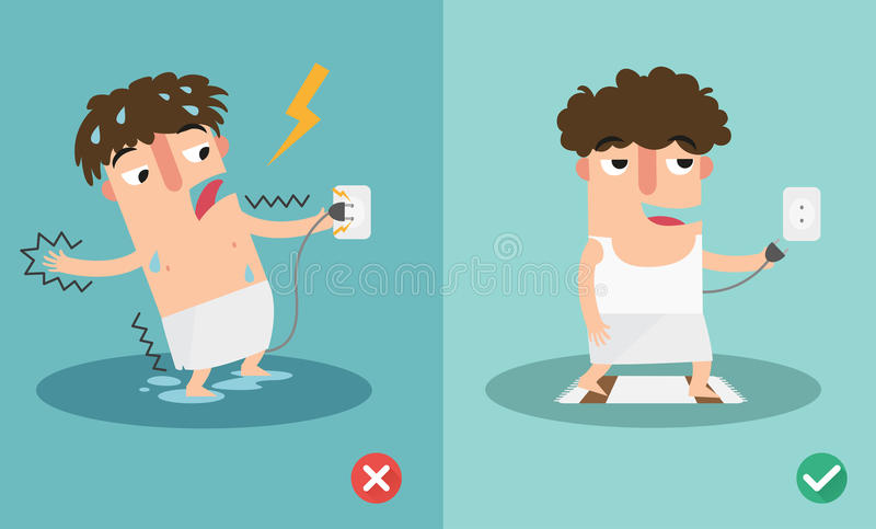 Download Wrong And Right For Safety Electric Shock Risk. Stock Vector - Illustration of electrocute, danger: 67795638