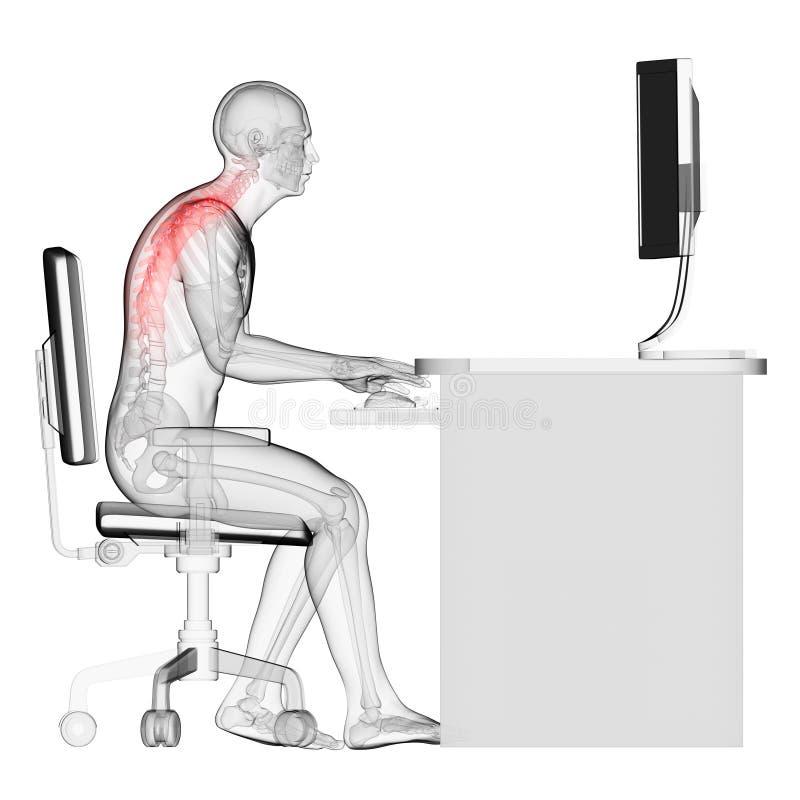 wrong sitting posture vector illustration