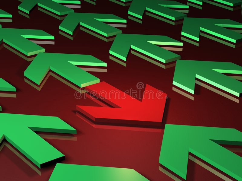 Wrong way or conflict stock illustration