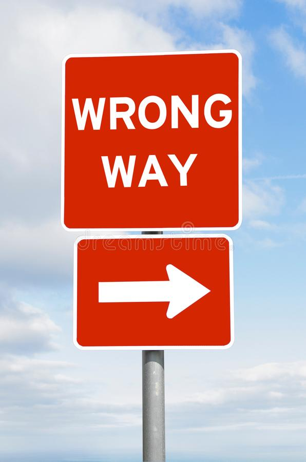 Download Wrong Way Direction Signpost Sky Stock Photo - Image of business, travel: 109538150