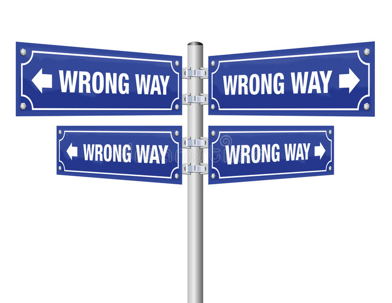 Wrong Way Guidepost. Showing in four different directions that lead always to an incorrect destination - symbolic for misconduct, pessimism, wrongdoing, misstep vector illustration