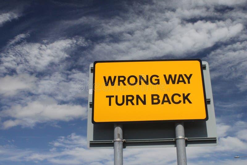 Wrong way sign. A wrong way street sign royalty free stock photo