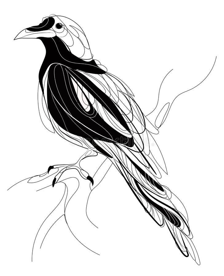 Wroni obsiadanie na gałąź Stylizowana sroka na drzewie Czarny i biały wrona liniowa sztuka Tatuaż również zwrócić corel ilustracj ilustracja wektor