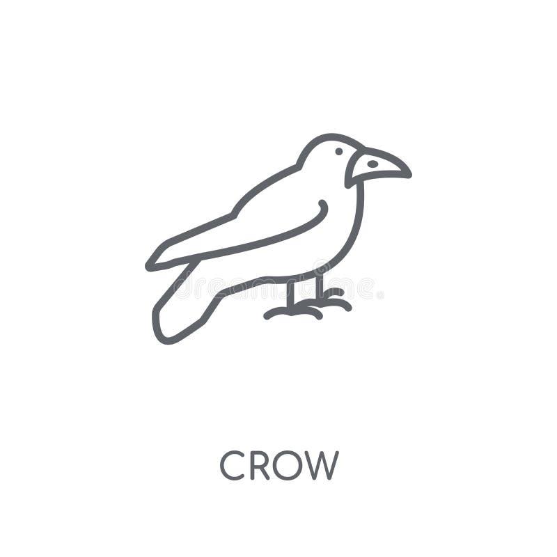 Wronia liniowa ikona Nowożytny kontur wrony logo pojęcie na bielu plecy ilustracja wektor