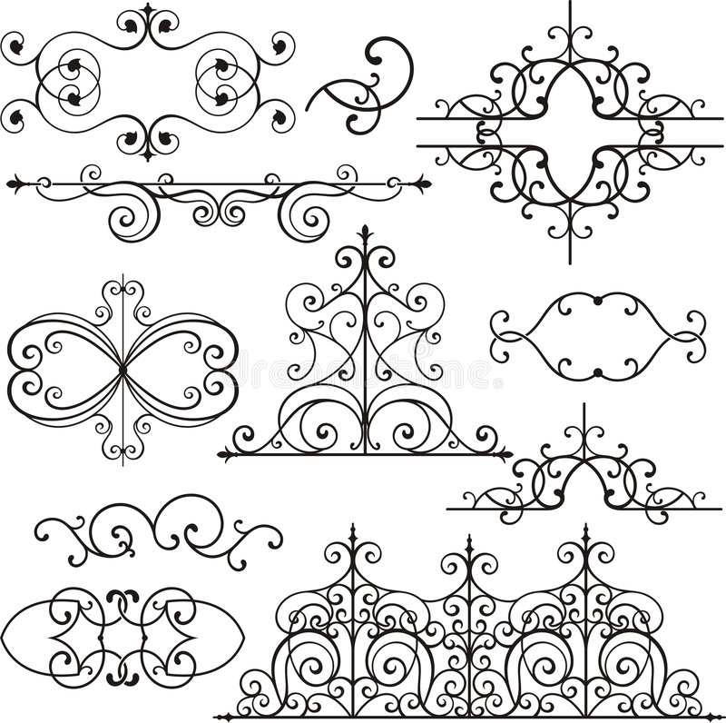 Wrough iron ornaments royalty free illustration