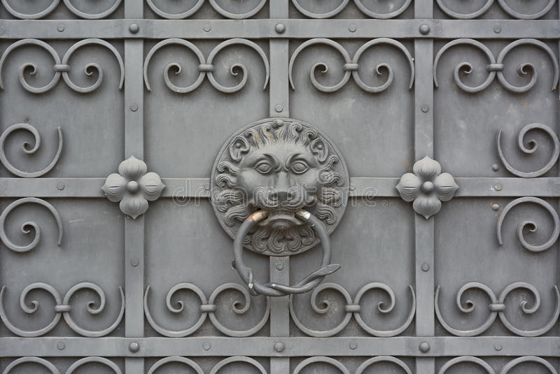Wrought Iron Door With Lion Royalty Free Stock Image