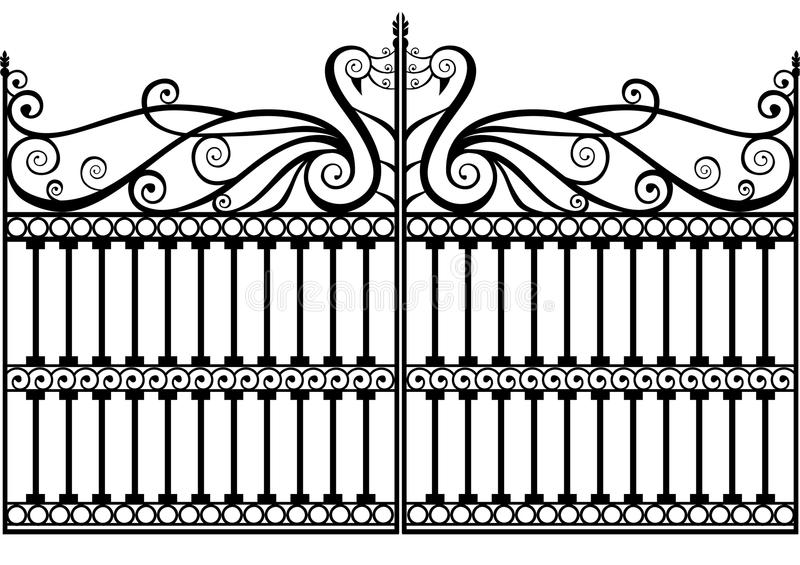 Wrought iron fence or gate vector eps. Wrought iron fence or gate with peacock or swan with swirls and scrolls vector eps vector illustration