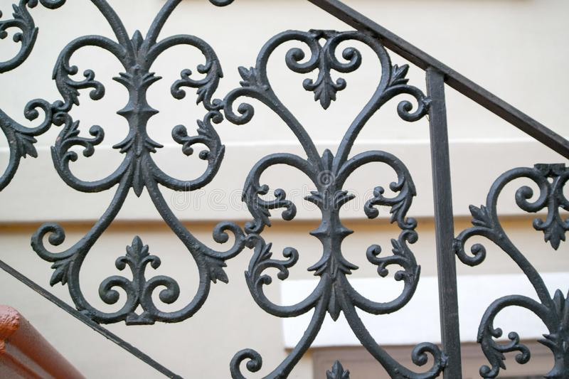Wrought iron fence hand railing in Savannah. Detailed decorative hand railing in Savannah Georgia United States royalty free stock photography