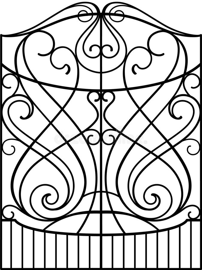 Wrought Iron Gate,. Door, Fence royalty free illustration