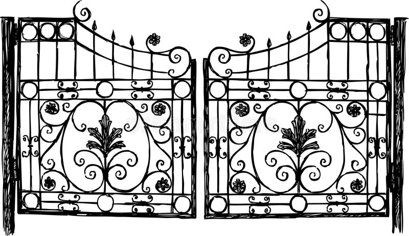 Wrought iron gate royalty free illustration