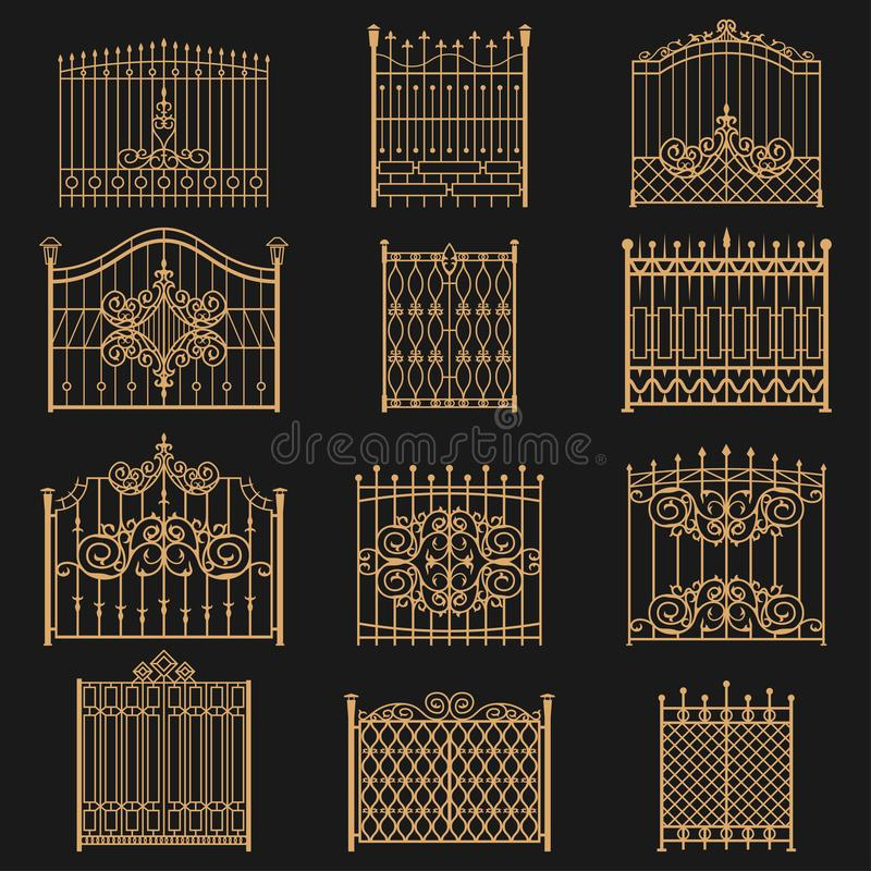 Wrought iron gate. Elegant barrier fence, or hedge for park, house, entrance or an opening for passage through a wall. Vector flat style cartoon illustration stock illustration