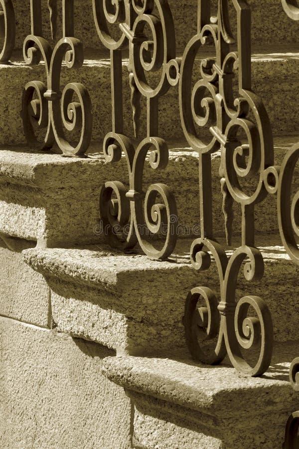 Wrought iron railing royalty free stock photos