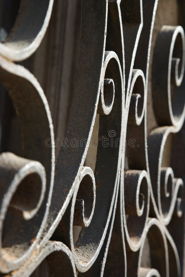 Wrought iron scrolls in Venice, Italy. stock images