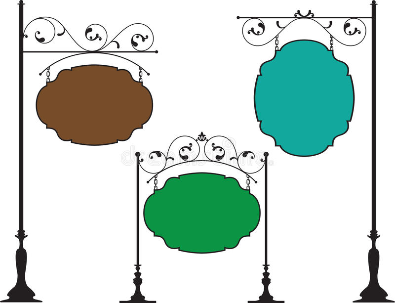 Wrought Iron Signage. Artistic Vector royalty free illustration