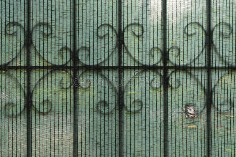 Wrought iron version2. Wrought iron door behind shading net,focus shading net royalty free stock photography