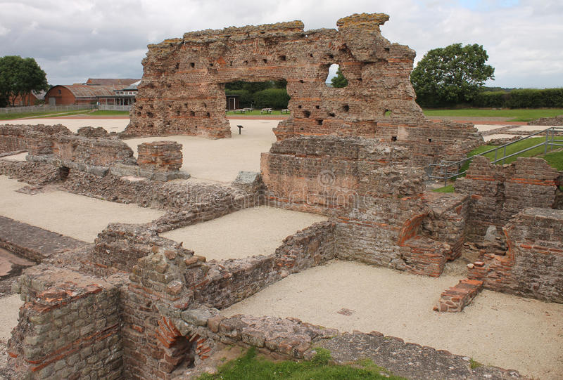 Wroxeter arruinou a casa romana do banho fotografia de stock