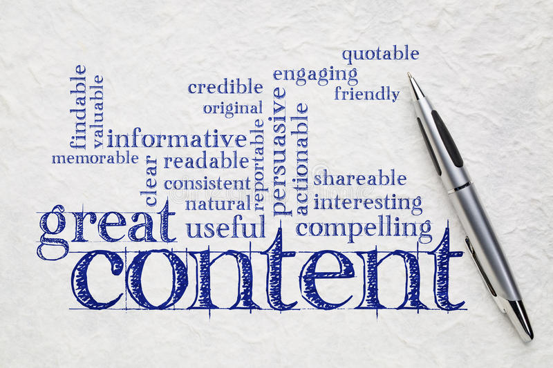 Wrting great content concept. Great content writing word cloud on a white lokta paper - business writing and content marketing concept royalty free stock images