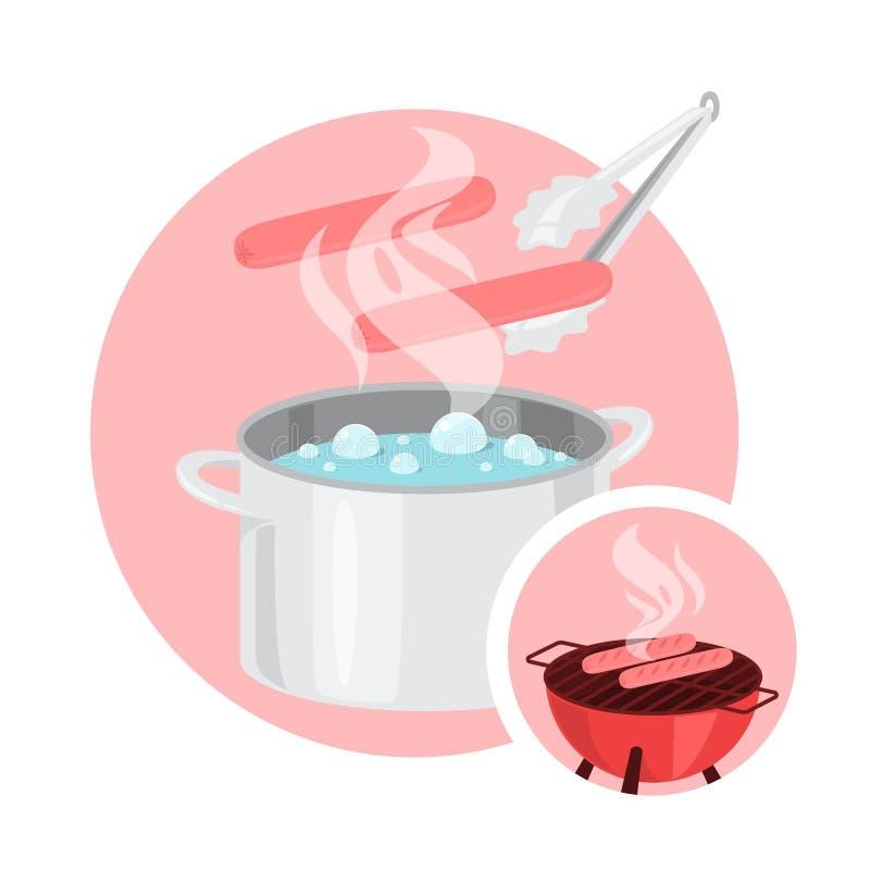Wrząca kiełbasa w kucharstwo garnku Robić grill kiełbasom ilustracja wektor
